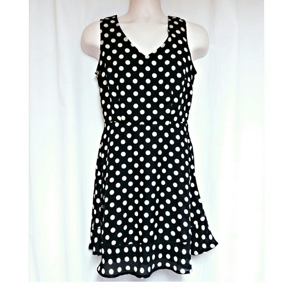 Dresses & Skirts - Black Dress with Cream  Polka-Dots Size S